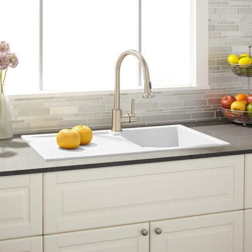 "Signature Hardware 425906 Allardt 34"" Drop-In Granite Composite Sink with Drainboard"