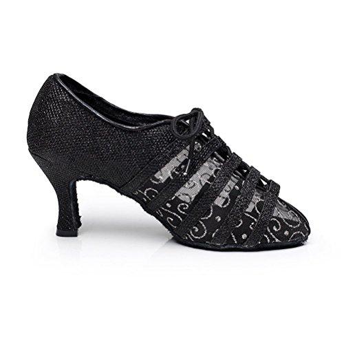 Bcln Sandales À Bout Ouvert Pour Femmes Latin Salsa Tango Talons Chaussures De Danse De Salon De Pratique Avec 2.75 Talon Noir