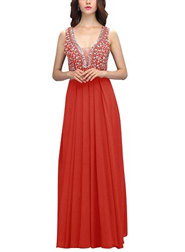 Bbonlinedress Vestido Largo De Gasa De Tirantes Con Cuentas Vestido de Gala Fiesta Noche Rojo