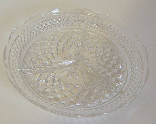 Vintage Clear Pressed Glass Fancy Divided Relish Condiment Candy Dish 8.5