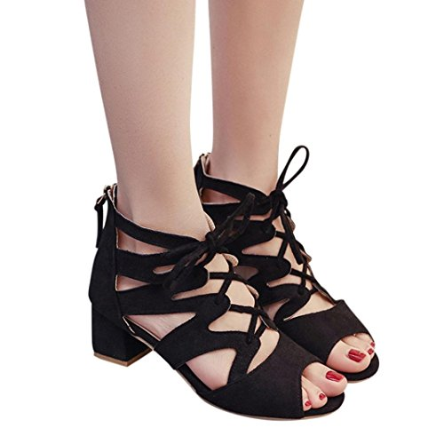 HLHN Woman Sandals,Bohemia Rome Bandage Ankle Block High Heel Open-Toe Leisure Shoes Beach Casual Elegant Summer Lady Black