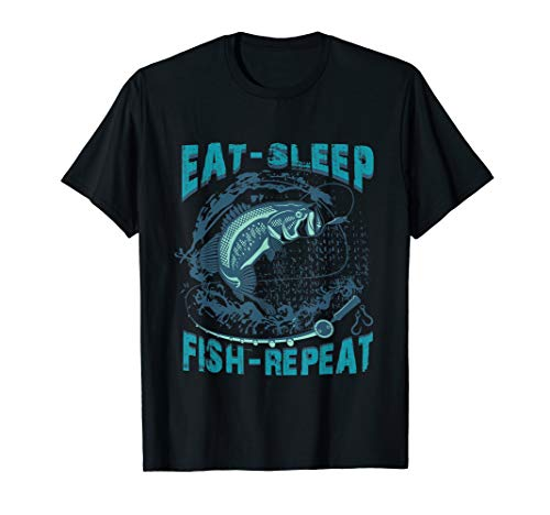 Eat Sleep Fish Repeat T-Shirt Funny Fishing Tee Shirt - T-shirt Fish Eat