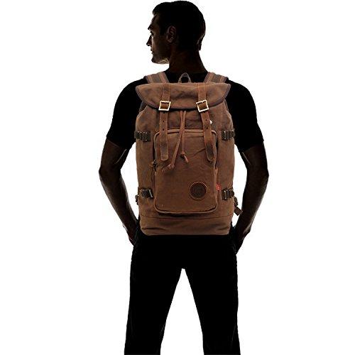 FANDARE Alpinista Mochila Ordenador Portátil 15.6'' Recorrido Morral al Aire Libre Viaje Ocio Para La Escuela Bolso Mujeres Hombres Clásico Backpack Lona Café Marrón