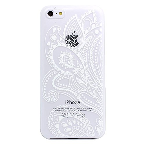 Iphone 5C Case, LUOLNH Henna White Floral Paisley Flower Hard Plastic Clear Case Silicone Skin Cover for Apple Iphone 5C