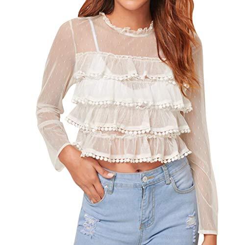 Amazon.com: Blusas con volantes de encaje, para mujer ...