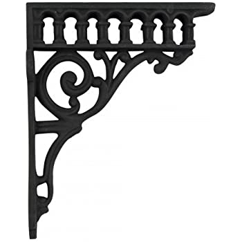 victorian cast iron shelf bracket antique vintage black paint roman column