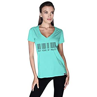 Creo Green Cotton V Neck T-Shirt For Women