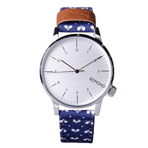 (KOMONO Unisex KOM-W2152 Winston Print Series Silver-Tone Watch with Tennis Racket-Patterned Band)
