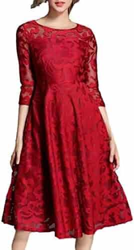 5aab009d39 Alion Women Vintage Floral Lace Elegant Cocktail Formal Swing Dress with  Short Sleeve
