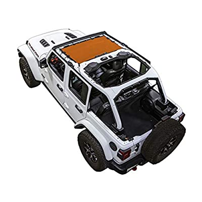 SPIDERWEBSHADE Jeep Wrangler JLKini Mesh Shade Top Sunshade UV Protection Accessory USA Made with 10 Year Warranty for Your JL 2-Door and JLU 4-Door (2020 - current) in Orange: Automotive