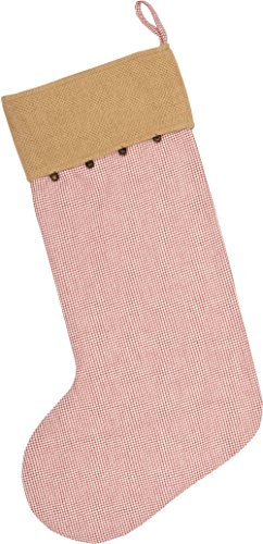 Piper Classics Red Check & Burlap Christmas Stocking w/Jingle Bells, 12'' x 20'', Country Farmhouse Holiday Décor by Piper Classics (Image #3)