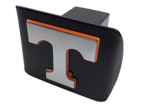 Tennessee METAL emblem (chrome with orange trim) on black METAL Hitch Cover