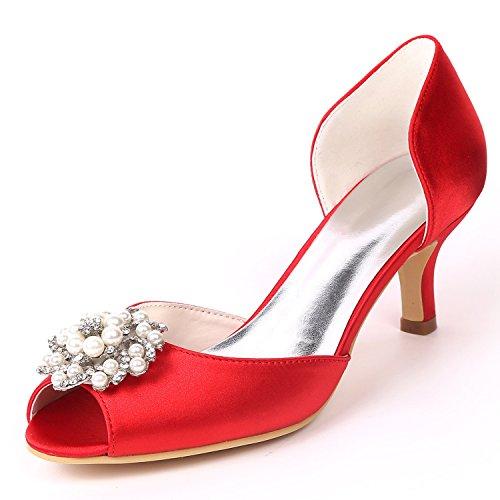 su per YC Red con Tacchi Tacco Personalizzati Laterali Strass Basso Donna di Misura Raso a Scarpe da L Forma Sposa 8nd1CCg