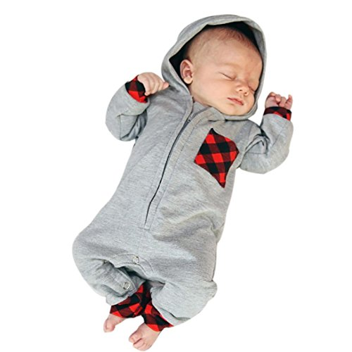 Newborn Baby Outfits Clothes Infant Boy Girl Plaid Hooded Romper Jumpsuit (3M, Gray)