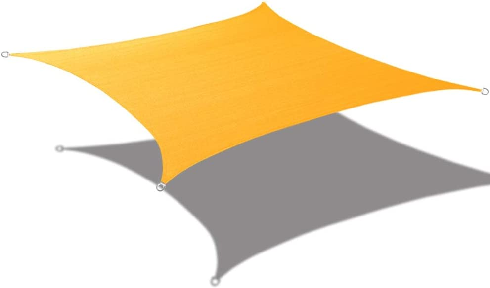 Alion Home 10' x 10' Waterproof Woven Sun Shade Sail in Vibrant Colors (Mango Yellow)