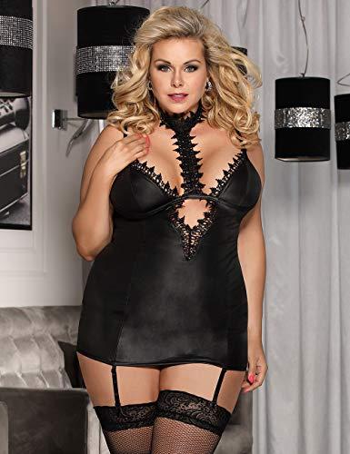 comeondear Femme Robe Grande Taille Cuir Clubwear Sexy Résille Erotique Lingerie Coquine Dos Nu
