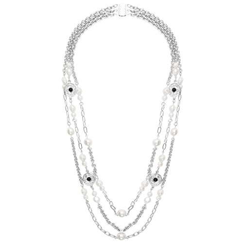 Pearls and Coins Triple Strand Long Necklace in Silver by Karine Sultan