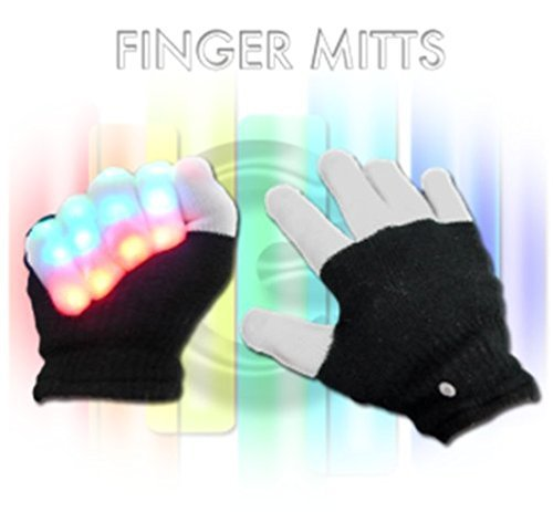 New Blinking Light up LED Flashing Stretch Gloves Finger (Ext Run Time Battery)