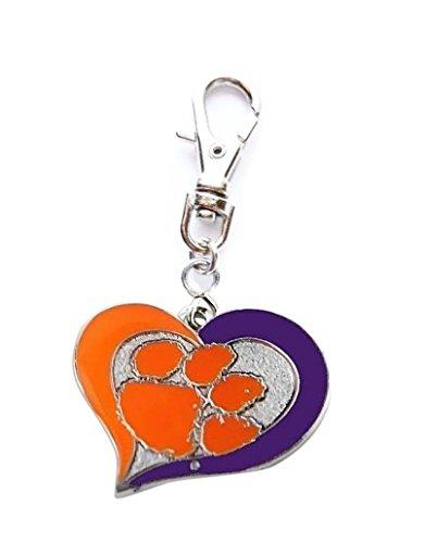- Heavens Jewelry Clemson University Tigers Heart Team Charm ADD to Zipper Pull PET Dog CAT Collar Leash Keychain ETC