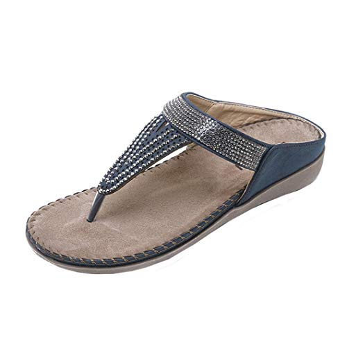 FORUU Women Flat Shoes Bead Bohemia Lady Slippe Sandals Peep-Toe Outdoor Shoes Slipper ()