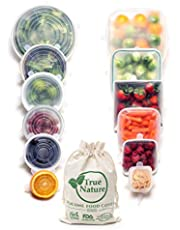 True Nature Silicone Stretch Food Covers 12-Pk - 100% Platinum-Cured Food Grade Silicon, BPA-Free - Flexible, Reusable, Durable & Expandable - Sustainable Bowl Lids / Microwave, Oven & Dishwasher Safe