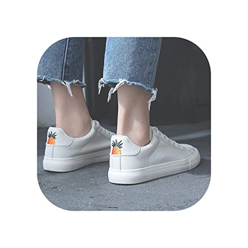Women Sneakers Breathable Vulcanized Shoes Pu Leather Platform Lace up Casual White,507 White,7.5