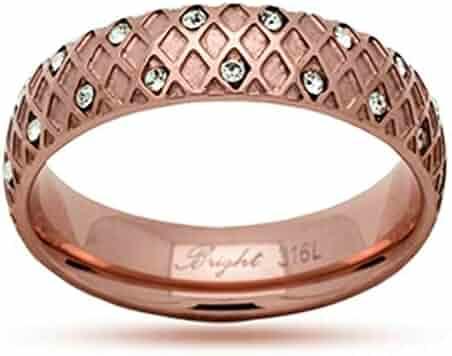 JewelryVolt Stainless Steel Ring Coctail CZ Fleur-de-lis Square Peach Champagne Polished /& Oxidized Orange CZ Casting Amber Square 9