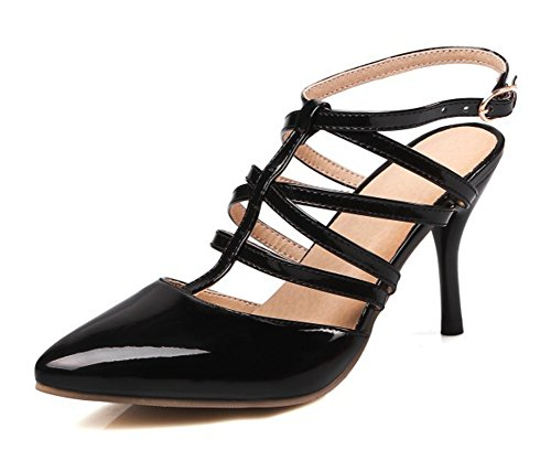 Aisun Women's Sexy Pointed Toe Gladiator Dress Slingback Buckle Stiletto High Heels Sandals Shoes Black 4.5 B(M) - Slingback Buckle