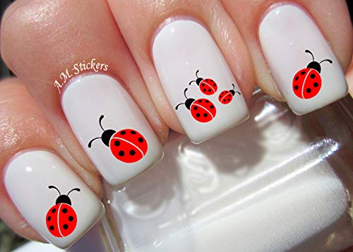 (Ladybug Water Nail Art Transfers Stickers Decals - Set of)