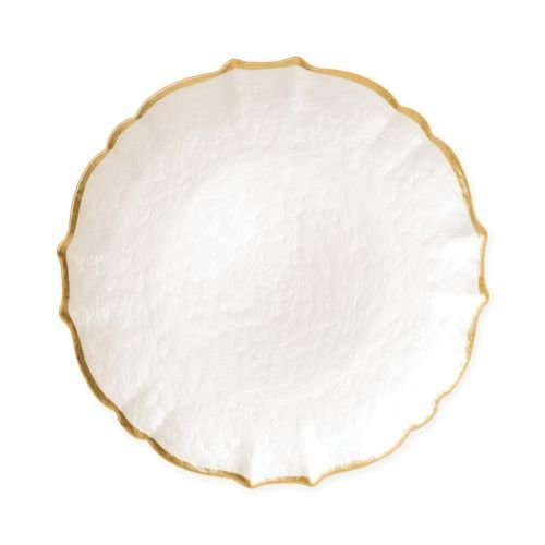 Vietri Baroque Glass White Salad Plate - Handcrafted Luxury Tableware