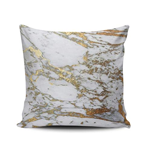 XIAFA Popular Gold Marble Style Stylish Home Decoration Pillowcase 26X26 inch European Stylish Design Throw Pillow Case Cushion Cover Double Sided Printed (Set of 1)
