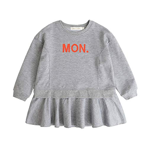 Qpika Toddler Kids Baby Fashion Girls Long Sleeve Letter Print Party Princess Dresses -