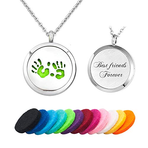 JewelryJo Hand Prints Engraved Best Friends Forever Aromatherapy Essential Oil Diffuser Necklace Pendant with Refill Pads
