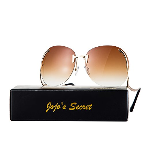 JOJO'S SECRET Oversized Rimless Sunglasses, Retro Upside Down Frame Clear Lens Glasses JS006 (Gradie Brown, - Sunglasses Blacked Out