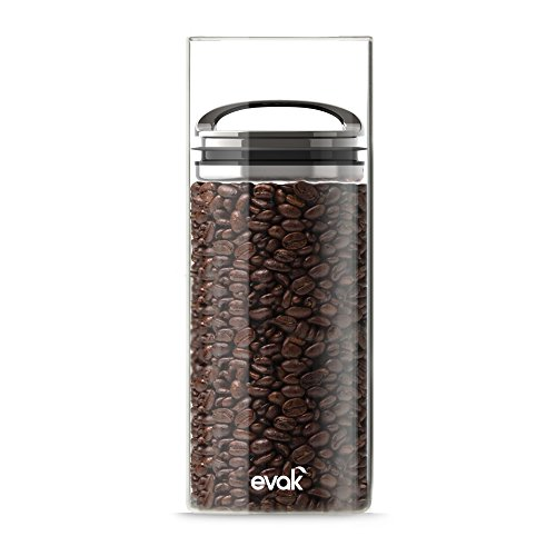 Best PREMIUM Airtight Storage Container for Coffee Beans, Tea and Dry Goods - EVAK - Innovation that Works by Prepara, Glass and Stainless, Compact Dark Chrome Handle, Large