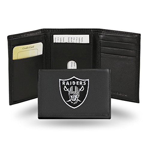NFL Oakland Raiders Embroidered Genuine Leather Trifold Wallet - Raiders Embroidered Tri Fold