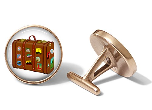 Vintage Travel Suitcase Cufflinks (Solid Bronze) (Solid Cufflinks Vintage)