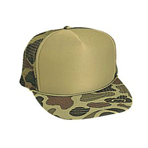 Camouflage Golf Style Cap - Otto Caps Camouflage Polyester Foam Front Five Panel High Crown Golf Style Mesh Back Cap