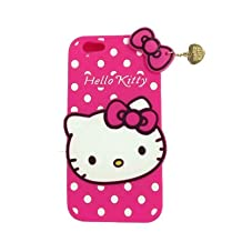 JBG 3D Cute Soft Silicone Polka Dots Case Cover Heart Pendant For iphone 5 5G 5S Hot Pink