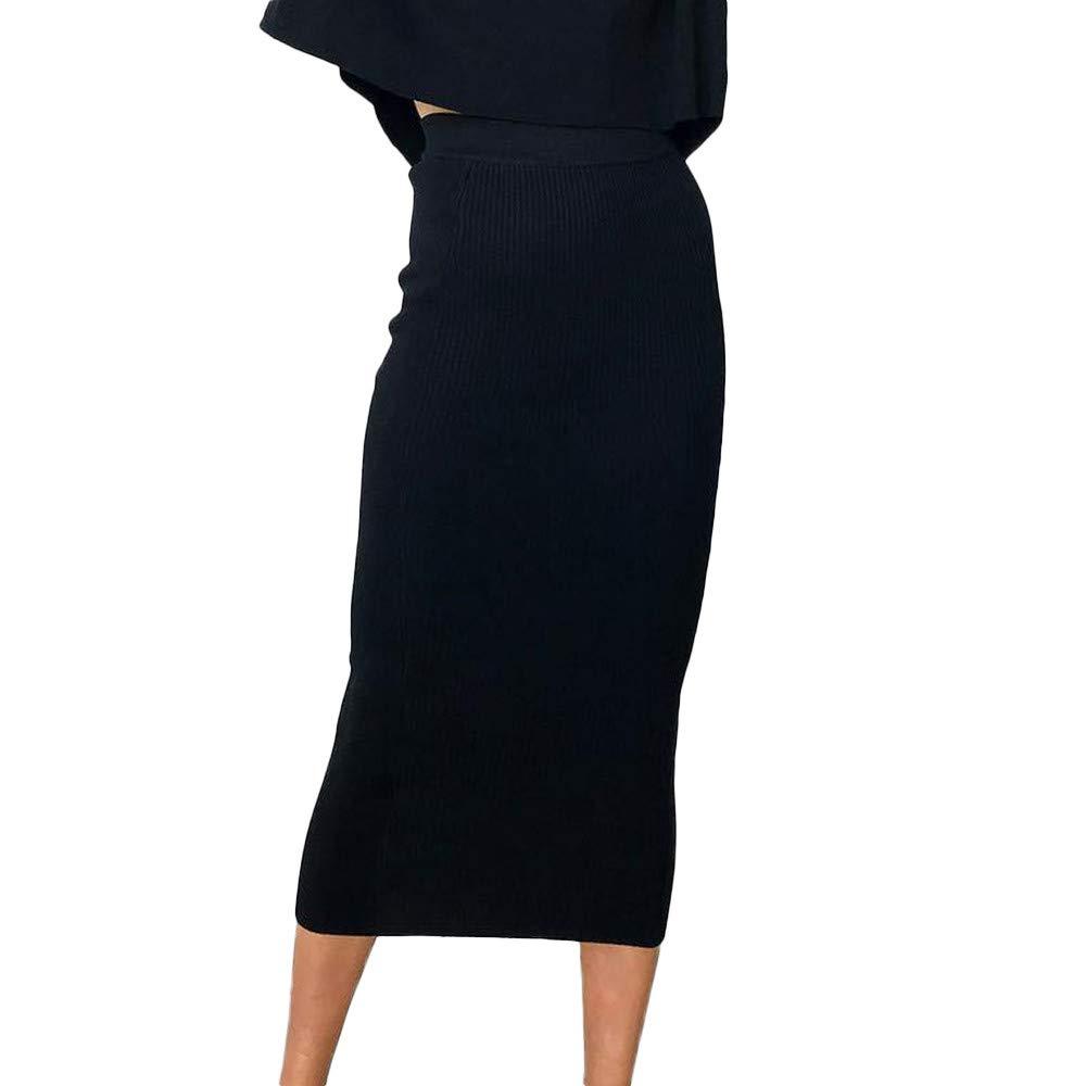 DEATU Womens Clearance Sales! Ladies Fashion Sexy Solid High-Waist Long Skirt Hip Slim Straight Skirt/Blouse Tops T Shirt(Black,L)