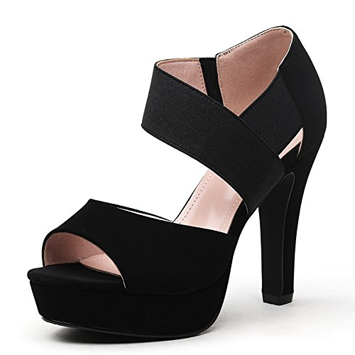 Jqdyl High Heels Fisch-Mund-wasserdichte Plattform-starke mit einzelnen Schuhen weibliche Absatz-Fruuml;hlings-neue Wort-Schnallen-Schuhe  35 black