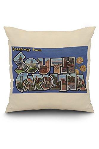 (South Carolina - Large Letter Scenes (20x20 Spun Polyester Pillow, White Border))