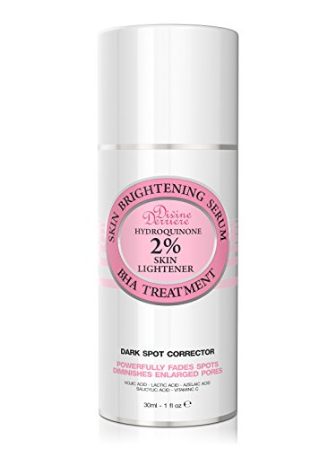 Divine Derriere Skin Lightening 2% Hydroquinone Dark Spot Corrector Serum For Face & Melasma Treatment Fade Cream - Contains Vitamin C, Salicylic Acid, Kojic Acid, Azelaic Acid and Lactic Acid