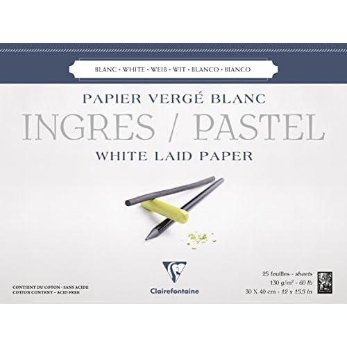 Clairefontaine 96483C Ingres Pastel bloc collé 25F 30x40cm 130g papier vergé Blanc