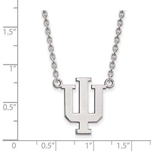 Jewelry Stores Network Indiana University Hoosiers School Letters Logo Sterling Silver Pendant Necklace L - (21 mm x 14 mm) - Sterling Logo Necklace Silver