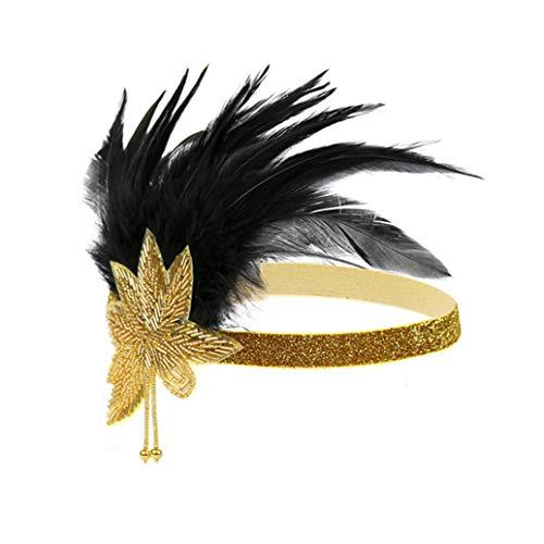 Art Deco 1920s Flapper Feather Headpiece Roaring 20s Great Gatsby Headband for Women Gold -