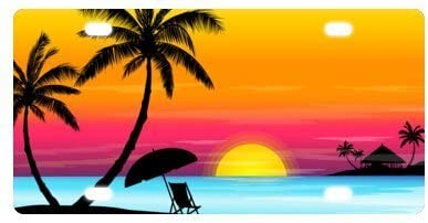 Tropical Paradise Ocean Beach Scene with Palm Trees Novelty License Plate Front