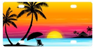 TrunyArt Tropical Paradise Ocean Beach Scene with Palm Trees Novelty License Plate Decorative Front Plate 6 X 12