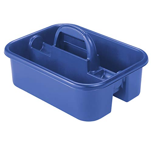 Akro-Mils 09185 Plastic Tote Tool & Supply Cleaning Caddy with Handle, (18-3/8-Inch x 13-7/8-Inch x 9-Inch), Blue…