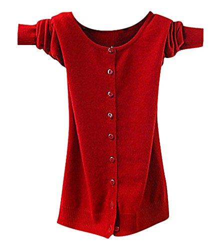 Maze, Women's Long Sleeve Buttoned Ribbed Cuff V Neckine Short Sweater Cardigan, BigRedO M ,Manufacturer(L)